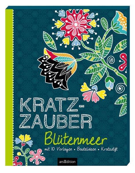 Kratzzauber Blütenmeer - mit 10 Vorlagen, Bastelideen, Kratzstift (Mängelexemplar)