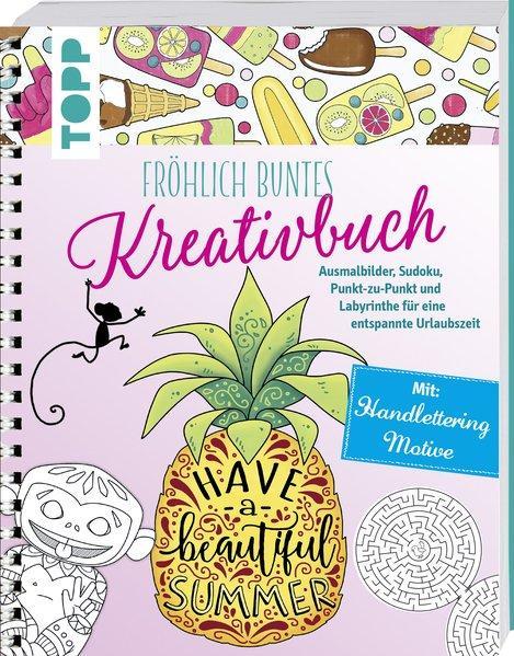 Fröhlich buntes Kreativbuch - Ausmalbilder, Handlettering, Sudoku... (Mängelexemplar)